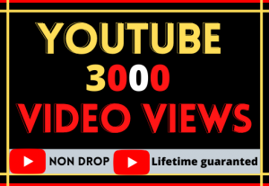 i will do fast your YouTube video 3000 views ,Organic non drop 100% real and lifetime guaranteed