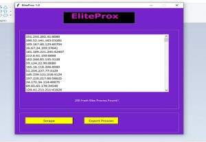 Elite Proxy Scraper – Scrapes The Highest Anonymous Proxies – Over 1000 Proxies in a Minute