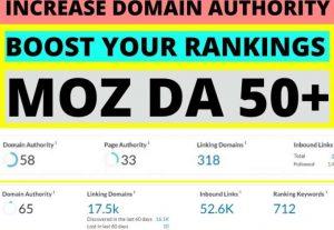 Increase MOZ DA 50+ Within 30 Days – 100 Money Back Guarantee