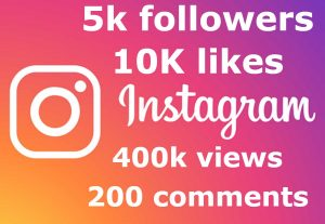 ADD you 5k followers & 10K likes & 400k views & 200 comments
