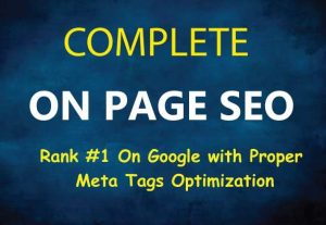 Do Complete On Page SEO Optimization for Top Google Ranking