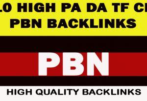 10 High PA DA TF CF HomePage Dofollow Quality  PBN Backlinks