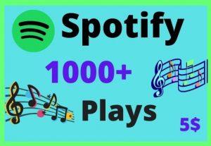 1000 PREMIUM Spotify plays from  countries USA/CA/EU/AU/NZ/UK