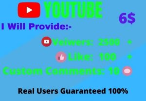 I Will give Organic YouTube Promotion 2500 views,100 likes and comment 10