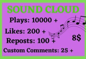 10000+ SOUNDCLOUD GLOBAL PLAYS WITH 200 LIKES100 REPOST AND 25 COMMENTS