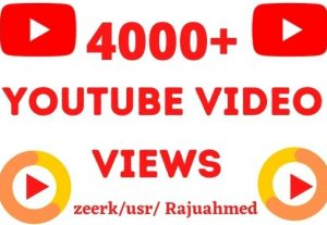 Get permanent 4000+ youtube video views grented organic non drop