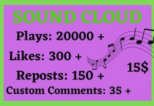 I will Add 20000+ Soundcloud , 300 Likes,150 Reposts or comment 35
