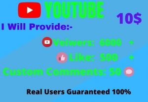 I Will give Organic YouTube Promotion 6000 views,500 likes and comment 50