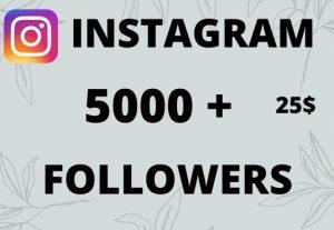5000+ Instagram followers 100% Non Drop Instant Start