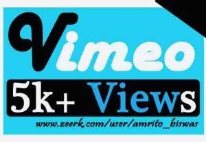 I Will Provide 5K+ Vimeo View's Real and Organic, Non Drop Guarantee.