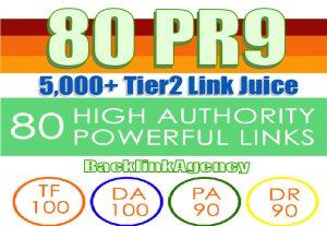 80 PR9 Backlinks DA-100 With 5000 Links Easy Link Juice & Faster Index