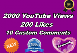 I will give you 2000 YouTube Views with 200 YouTube Likes and 10 Custom Comments