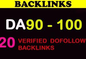 20 DA 90 – 100 High PR Verified Dofollow Backlinks