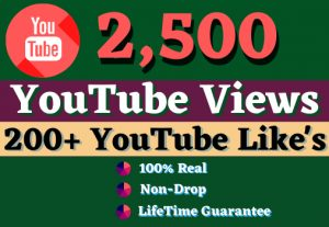 Get 2500 YouTube Views, 150 Likes & 10 Comments  GUARANTEE SERVICE