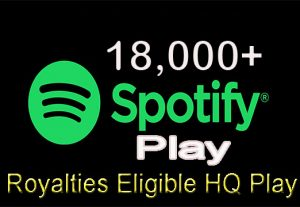 I will give 18,000+ Real Spotify Play Music Promotion From A+ Countries USA/UK/EU/AU/CA/NZ