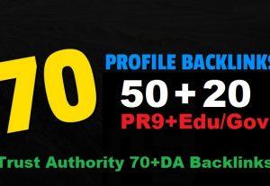 Exclusively 70 Links Juice 50 PR9+20 EDU/GOV 90+DA Authority SEO Backlinks increase Google search