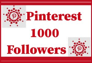 1000 Pinterest Followers, real and lifetime permanent