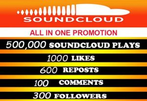 500,000 soundcloud plays with all in one for $5