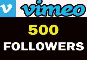 500 VIMEO Followers For You……..