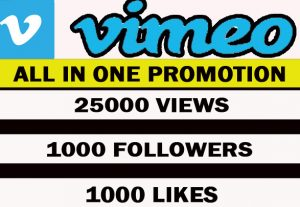 VIMEO All In One Promotion. 25000 views+ 1000 likes+ 500 followers