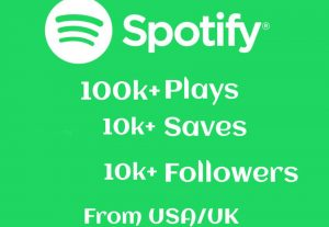 Limited 100k+ SPOTIFY Track Plays, 10k+ Saves and 10k+ Followers Real and High-Retention