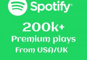 Limited Offer 200000+ or 200k+ SPOTIFY plays from USA/UK Real And High-Retention