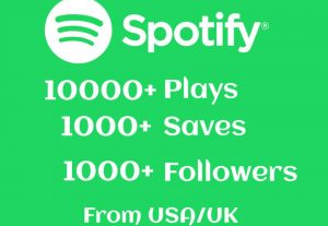 Organic SPOTIFY 10000+ Plays, 1000+ Saves and 1000+ Followers Real and High-Retention