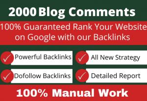 Provide 2000 High quality Blog comments backlinks from pr7 to pr10 websites