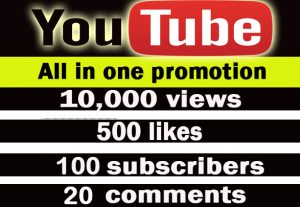 Youtube all in one promotion. 10,000 views, 500 likes, 100 subscribers, 20 comments