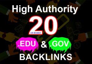 Build 20+ US Based EDU. GOV Authority High PR Backlinks
