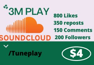 Do Organic Music Promotion 3M Play, 800 Likes , 350 reposts ,150 Comments & 200 Followers