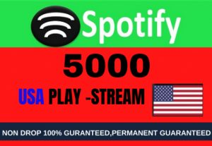 Get 5000 to 7000 Spotify ORGANIC Plays From HQ Account of USA or A+ Country CA/EU/AU/NZ/UK.