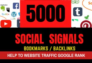5000 PR10 Social Network Signals / Bookmarks / Backlinks / Help To Website Traffic Google Rank