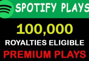 100,000 Spotify H.Q Premium plays from Tier 1 countries USA/CA/EU/AU/NZ/UK.
