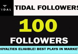 100 TIDAL ARTIST FOLLOWERS  Lifetime Guarantee