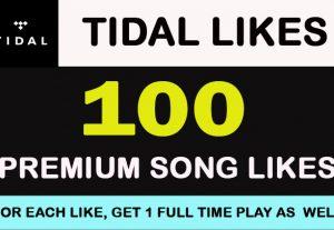 100 TIDAL PREMIUM SONG LIKES Lifetime Guarantee